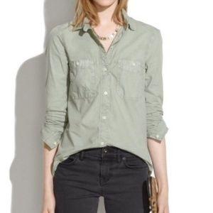 MADEWELL Washed Cotton Boyshirt Light Green XS